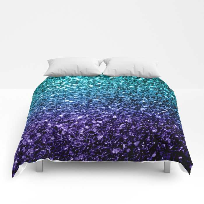 Beautiful Aqua blue Ombre glitter sparkles Comforters