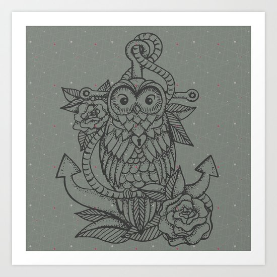 owl, roses & anchor Art Print