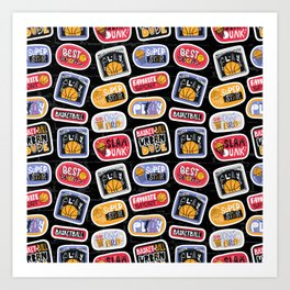 Basketball Pattern with Stickers Art Print