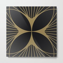 Diamond Series Floral Cross Gold on Charcoal Metal Print