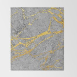 Grey Marble and Gold Throw Blanket
