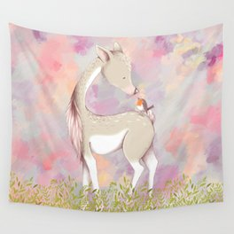Baby Deer With Bird Nursery Decor Watercolor Painting Wall Tapestry