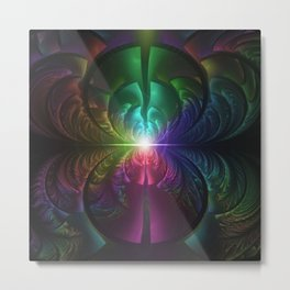 Anodized Rainbow Eyes and Metallic Fractal Flares Metal Print