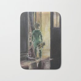 Waiting for a miracle Original oil painting on canvas Impressionism Artwork Bath Mat