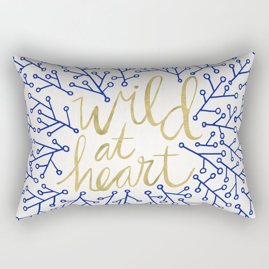 Wild at Heart – Navy & Gold Rectangular Pillow