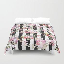 Bold pink watercolor roses floral black white stripes Duvet Cover