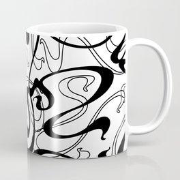 Black Abstract Ribbon Graffiti Style Swirls Coffee Mug