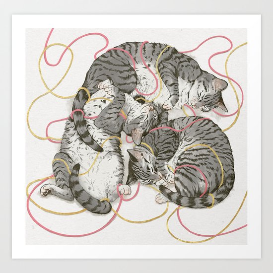 cats gold and rose Art Print