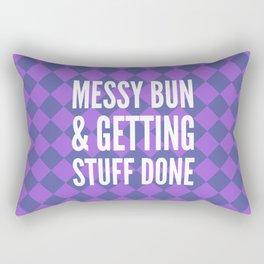 Messy Bun & Getting Stuff Done (Purple Checkered Pattern) Rectangular Pillow