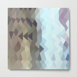 Taupe Abstract Low Polygon Background Metal Print