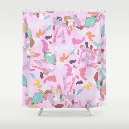 Girly Pink Modern Abstract Camo Art Shower Curtain