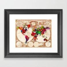Antique and POP Art Map Framed Art Print