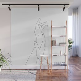 Hands line drawing illustration - Dia Wall Mural