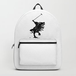 Big foot playing polo on a T-rex Backpack