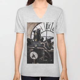 passing time background - interior of an old clock tower Unisex V-Neck