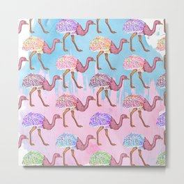 Colorful Watercolor Painted Ostrich Pattern Metal Print