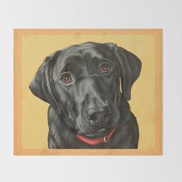 Black Labrador Retriever Portrait, Pop Art Lab Dog Painting Throw Blanket