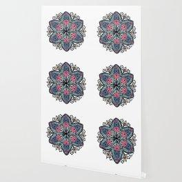 Mandala pink and blue Wallpaper