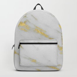 Marble - Shimmery Gold Marble on White Pattern Backpack