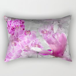 CHERRY BLOSSOMS ORCHIDS AND MAGNOLIA IMPRESSIONS IN PINK GRAY AND WHITE Rectangular Pillow