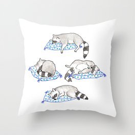 Raccoons Sleeping Throw Pillow