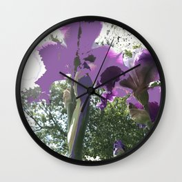 Giant Iris Stalks, purple green white, modified Wall Clock