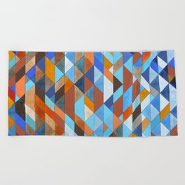 Triangle Pattern no.18 blue and orange Beach Towel