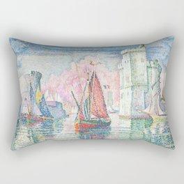 The Port Of La Rochelle, Paul Signac, 1921 Rectangular Pillow