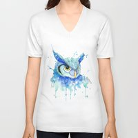 hedwig V-neck T-shirts featuring Color Hedwig  by Simona Borstnar