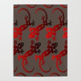 Red Lizard Gecko Poster