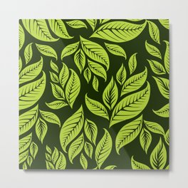 Green pattern with leaves Metal Print