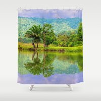 river Shower Curtains featuring RIVER MIRROR by Catspaws