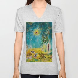 The Earth Is a Man landscape by R. Matta Unisex V-Neck