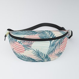 Tropical Island Retro Palm Leaves and Sun Pattern Fanny Pack