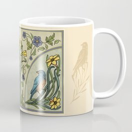 Bluebirds And Spring Blossoms Inspired By Art Nouveau Coffee Mug