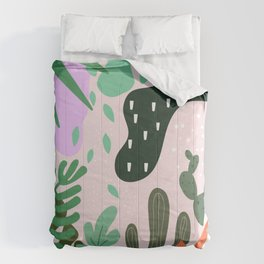 ABSTRACT PASTEL TROPICAL JUNGLE CACTUS PATTERN Comforters