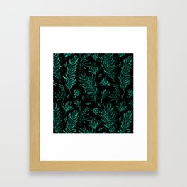 Elegant black emerald green glitter leaves Framed Art Print