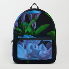 pink and blue flowers on black Backpack