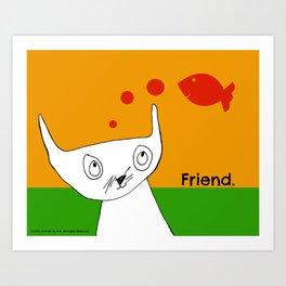 Fish Friend Cat Art by Child Art Print