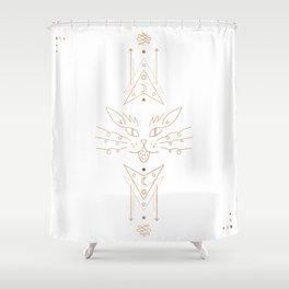 Copper White Geometric Cat Shower Curtain