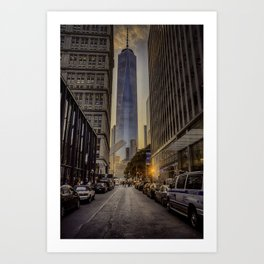 One World trade at sunset. Art Print