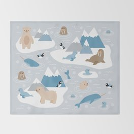 Arctic animals Throw Blanket