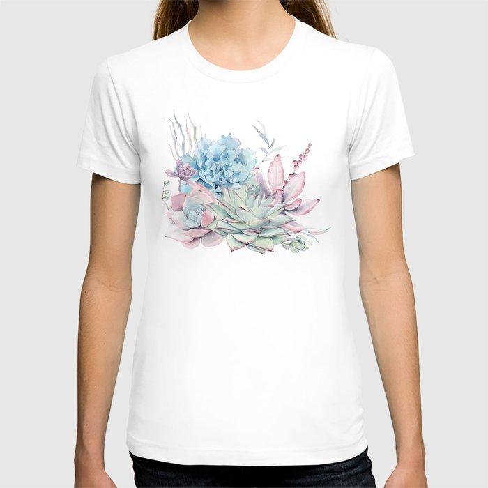 Pretty Pastel Succulents T-shirt