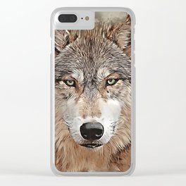 Watercolor Wolf Clear iPhone Case