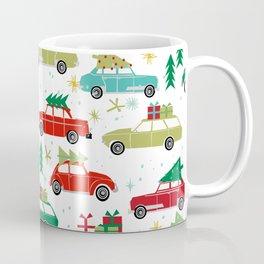 Christmas holiday vintage cars classic festive christmas tree snowflakes winter season Coffee Mug