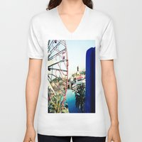 ferris wheel V-neck T-shirts featuring Ferris Wheel by Kim Ramage