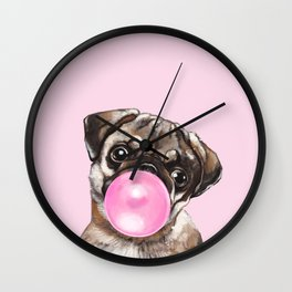 Pug with Pink Bubble Gum Wall Clock