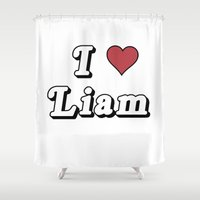 liam payne Shower Curtains featuring I love Liam by reality ruined my life