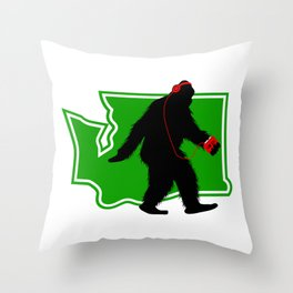 Bigfoot walk in Washington Throw Pillow