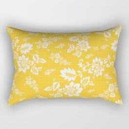 White Floral on Yellow Spring Rectangular Pillow
